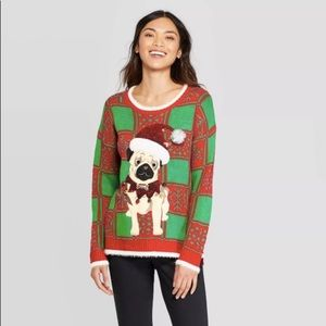 NWOT bell Pug ugly Christmas sweater holiday party